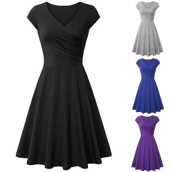 Ladies Casual Wrap Front V-Neck Short Sleeve High Waist Solid A-Line Short Dress