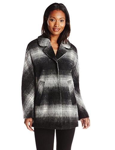Sam Edelman Womens Erin Mohair Wool Plaid Coat, Grey, Small
