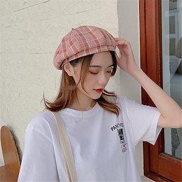 ◆送料無料◆※春新商品の入荷※      ベレー帽 レディース 春 夏 カジュアル 百掛け チェック柄 韓国ファッション 小さい新鮮な トレンド レトロ カレッジ風 日よけします