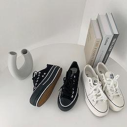 ✨DRESSCAFE✨[韓国ファッション] ♥ Limited item!♥ (2color) 5cm プラットフォームデイリーキャンバススニーカー