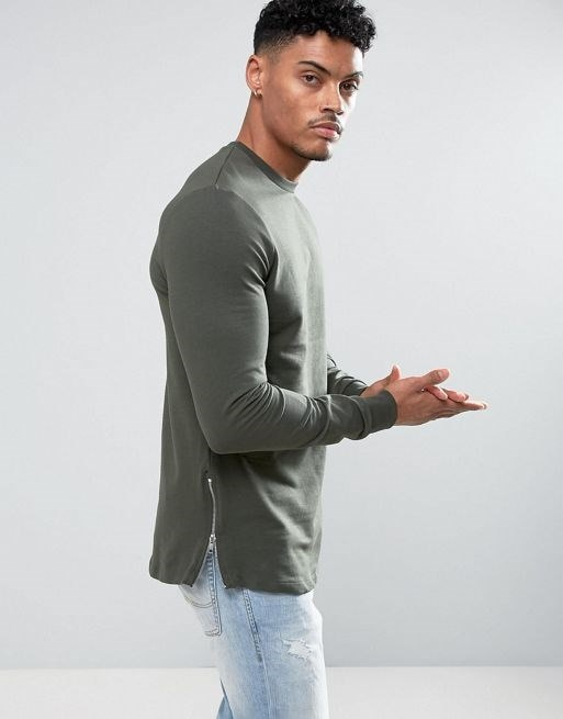 ASOS Longline Muscle Fit Sweatshirt With Side Zip in Khaki