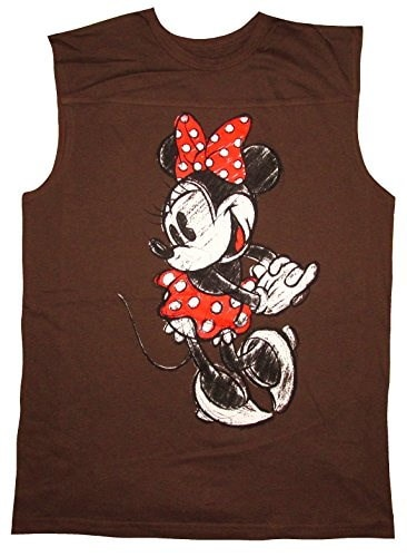 Disney Minnie Mouse Womens Sleeveless T-Shirt (Large, Brown)
