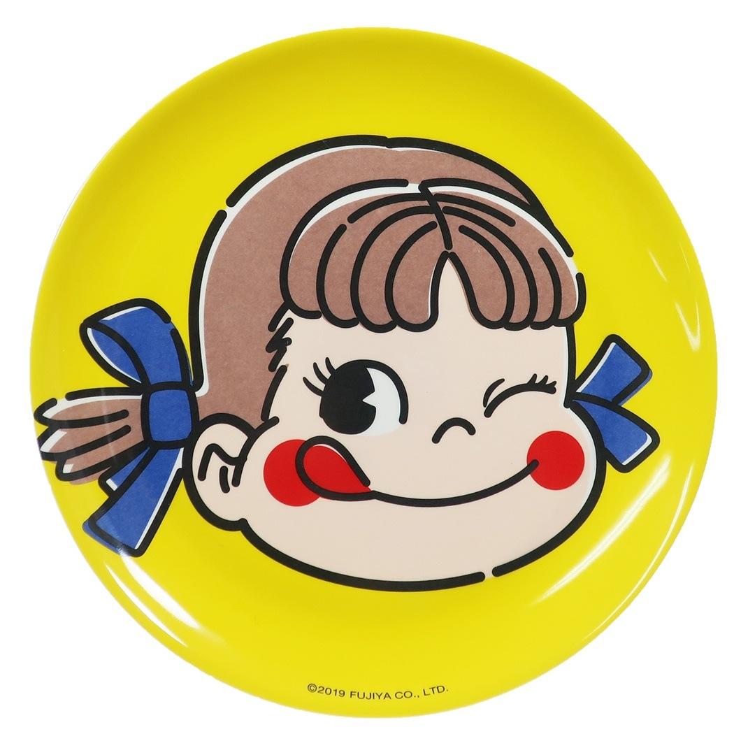 不二家のペコちゃん 中皿 メラミン プレート イエロー マリモクラフト 直径20cm 割れにくい食器 キャラクターグッズ通販 シネマコレクション■