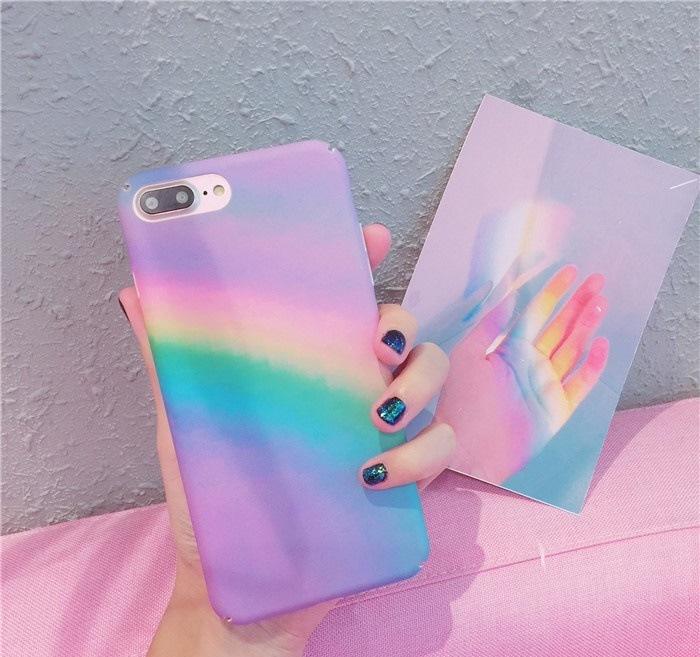 虹柄iPhoneX iPhone8/7 iPhone8Plus/7Plus iPhone6/6s iPhone6 Plus/6sPlus用背面カバー PCスマホケース 保護カバー軽量 【G771】