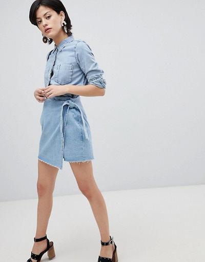 ヴェロモーダ レディース スカート ボトムス Noisy May acid wash wrap denim mini skirt