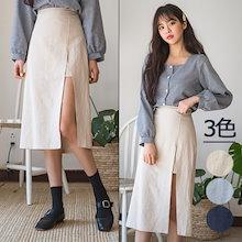 b32b9ea5ee0c 驚きの特価👗韓国ファッションカジュアルECサイト1位 ENVYLOOK💖リネンロングスリット