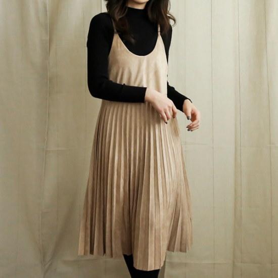 ビナインセミしわひもワンピース シフォン/レースのワンピース/ 韓国ファッション
