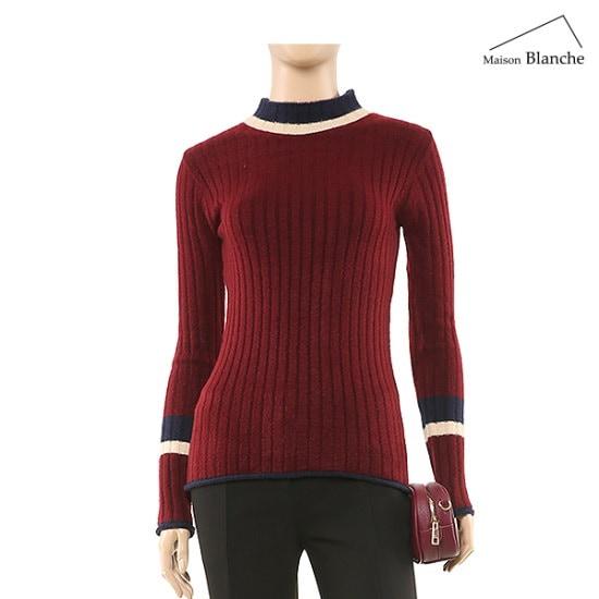 メゾンブルランスィ配色反目ニットM174PSWA09 / ニット/セーター/タートルネック/ポーラーニット/韓国ファッション