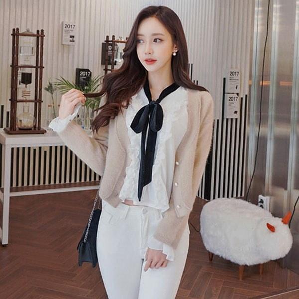 紅茶ラテアンゴラカディゴンnew 女性ニット/カーディガン/韓国ファッション