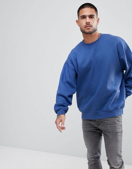 ASOS Oversized Sweatshirt In Blue