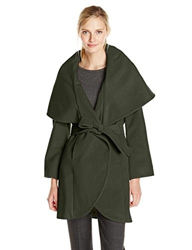T Tahari Womens Marla Wool Wrap Coat, Tusk, Small