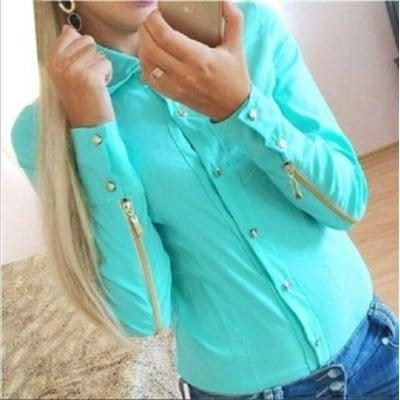 2014年新ファッション秋の服ブラウス女性のシャツカジュアルBlusas Femininasトップスブラウスジッパー付き