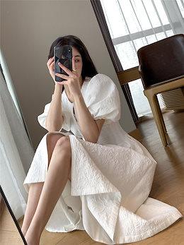 \大人気商品💕売り切れ続出! INSスタイル 2021 夏 新品 フレンチスタイル 気質 女神 パフスリーブ ジッパー ロングスカート 大きい裾 気高い スリム 百掛け ファッション