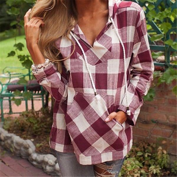 国内スタイル秋冬服女性ロングスリーブパーカーレディースチェック柄プリントセーターシャツ