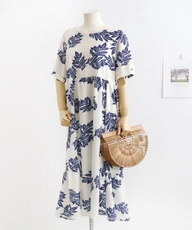 夏ヤシの木パターン半袖ロングホームウェアフレアワンピース30421デイリールックkorea women fashion style