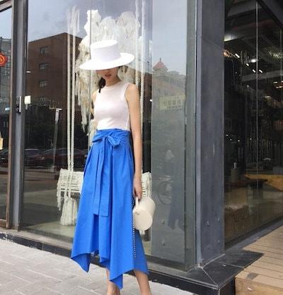 きれいめコーデに◎ ウエストリボン ロングスカート オシャレ かわいい デート 春 夏 人気 コーデ
