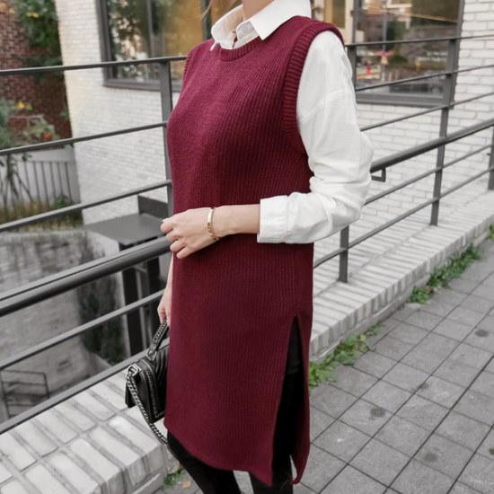 トムエンレビッマッドロングベストニットベストロング・ニットゴルジニットスリムなニット ベセチュウ / ニット・ベスト/ 韓国ファッション
