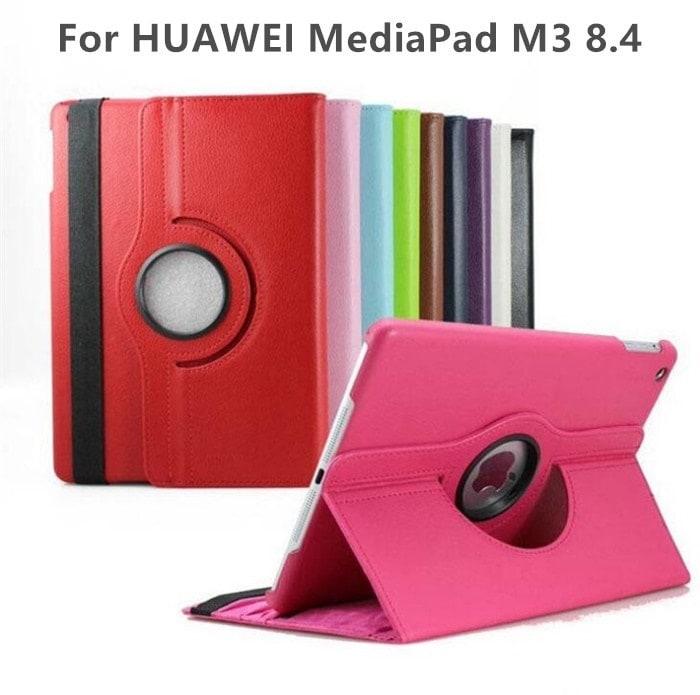 HUAWEI MediaPad M3 8.4型/dtab Compact d-01J用360度回転機能レザーケース スタンドカバー 縦置き 横置き 上質PU材質 三段階スタンド付き【I145】