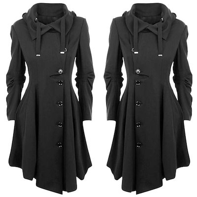 Winter Women Coat Long Sleeve Button Jacket Long Coats Women Dress Jacket Parka Black LJ2208S