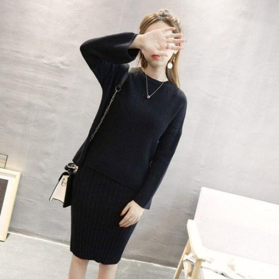 ハッパキソムラウンドワンピースニットセットSD6520 ニット/セーター/ニット/韓国ファッション