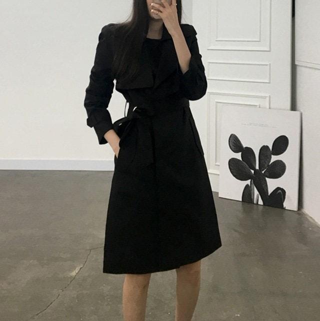 Long barbari woman Trench coat Beige black 21431 Daily look