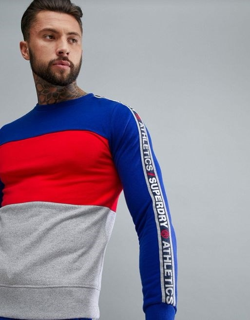 Superdry Sport Sweatshirt With Panels In Blue