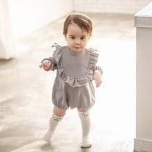 春と秋の子供服、女の子のロータスリーフレースロングスリーブワンピース、ベビー服 、 ロンパース