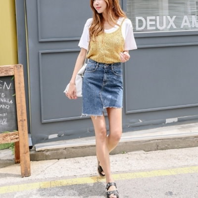 三女子モール水玉ニットビュスチェPH01008 トップ/ノースリーブシャツ/ブラウス/韓国ファッション