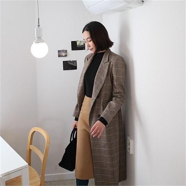 BLチェックコート1661 new 女性のコート/ 韓国ファッション/ジャケット/秋冬/レディース/ハーフ/ロング/