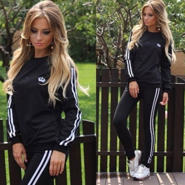 新しい女性Tracksuit 2個の長袖カジュアルスポーツスーツファッションスエットシャツ