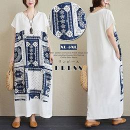 1`FC795    春夏服2021新型のゆったりしたプリント大きいサイズ婦人服は腹を隠して明らかにやせていますVネック半袖ワンピースAX127