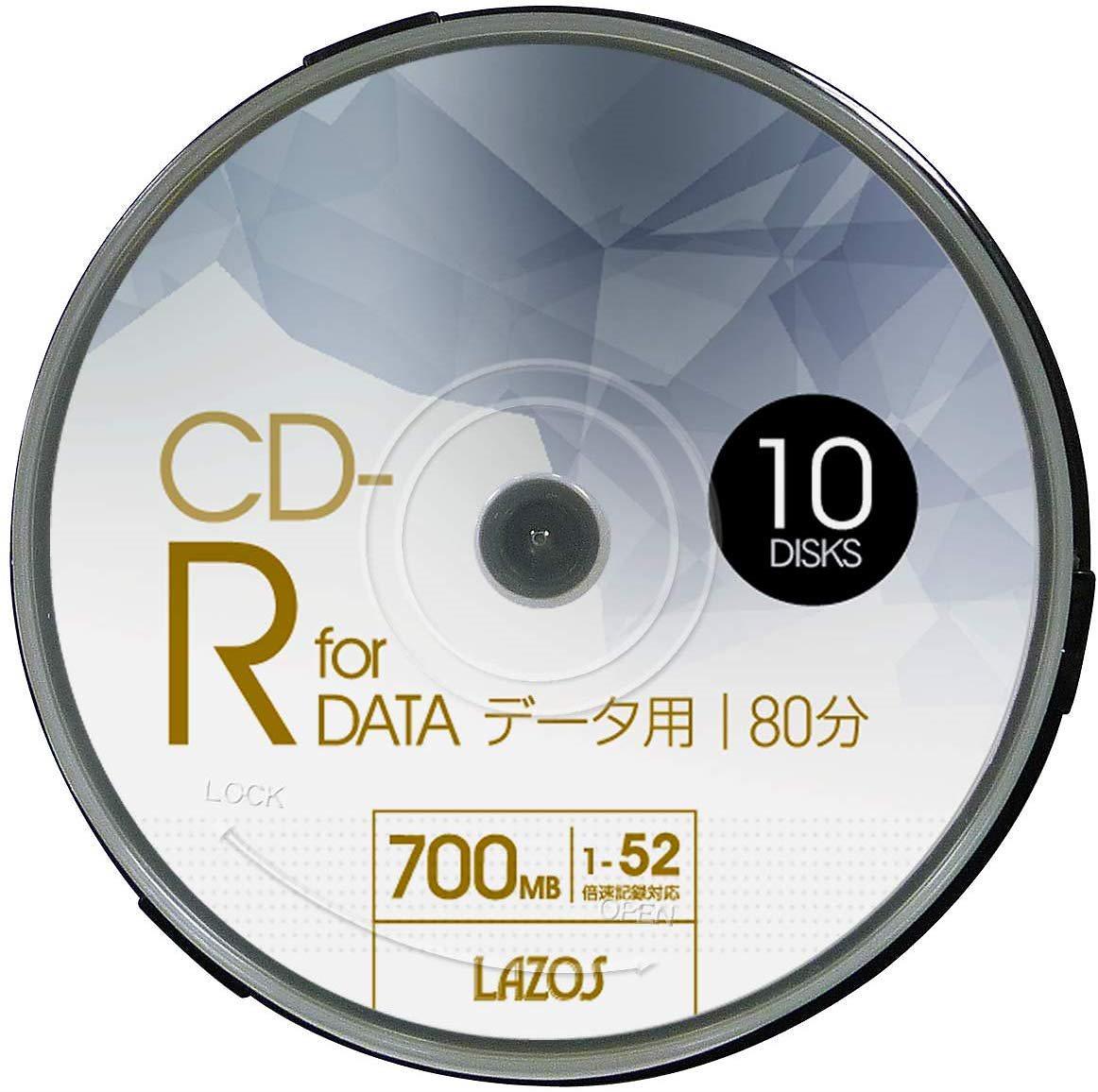 CD-R 700MB for DATA1-52倍速対応 1回記録用ホワイトワイド印刷対応 10枚組スピンドルケース入L-CD10P