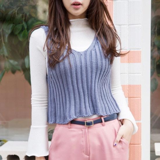 ララエルインディーズニットベスト ニット/セーター/ニット/韓国ファッション