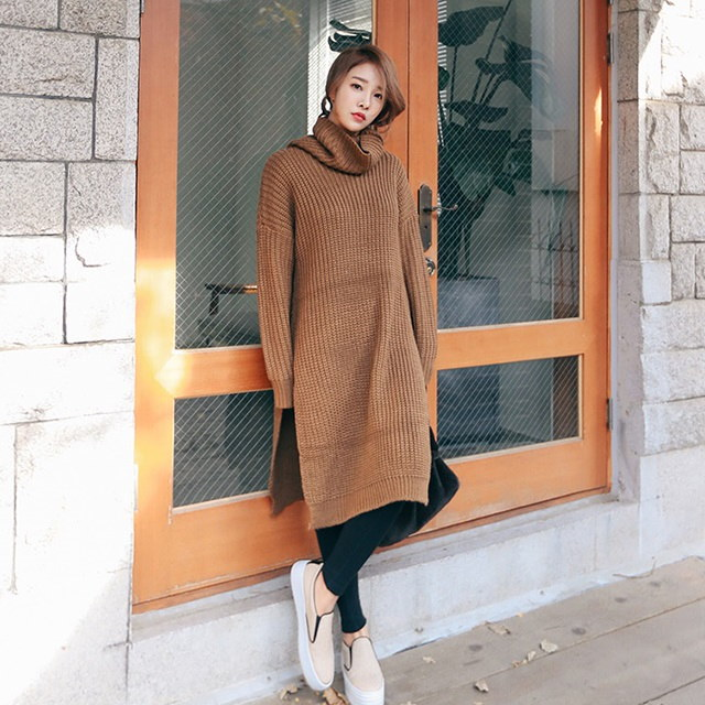Knit Turtleneck Long Knit Neck Polar Long Knit Tea Brown Knit Tee Daily Look Daily Bag