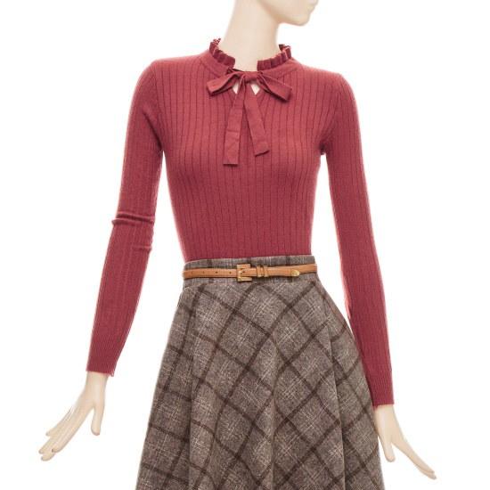 フォーカスリボンフリルネック、スリムニートBFGW1KT9290 ニット/セーター/韓国ファッション