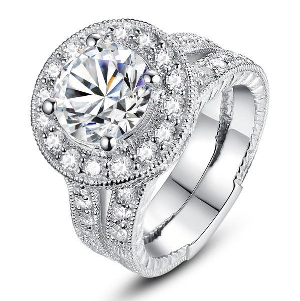 スターリングシルバーラウンドキュービックジルコニアヘイロー女性ブライダルエンゲージメント結婚指輪セット
