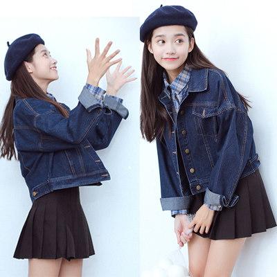 【送料無料】韓国のファッションがゆったりして仔のコートの女子が短くて、デニムのジャケット