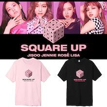 BLACK PINK专辑 SQUARE UP 応援半袖Tシャツ、夏服簡単男女同款カップル半袖T-shirt 韓国ファッション半袖