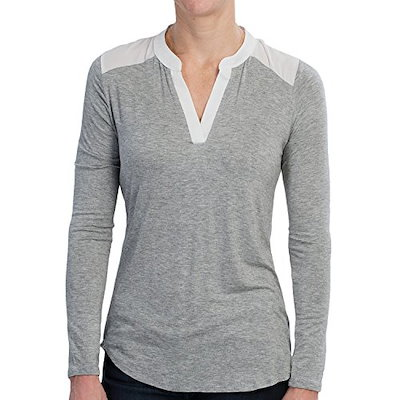 Olive & Oak Womens Chiffon Back Shirt - V-Neck, Long Sleeve, Grey/Ivory (Medium)