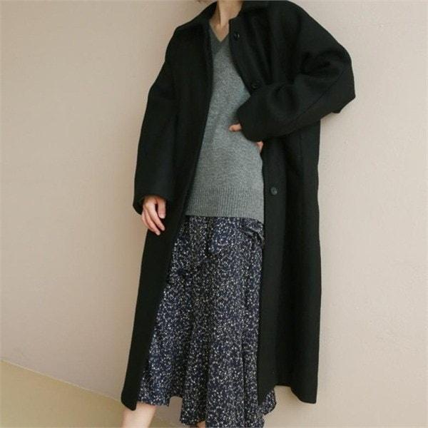 デイリー・マンデーRaglan long wool coatコート 女性のコート/ 韓国ファッション/ジャケット/秋冬/レディース/ハーフ/ロング/