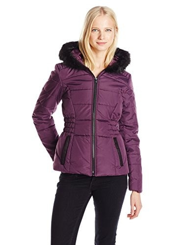 Celebrity Pink Juniors Short Puffer Jacket with Faur Fur Trim Hood , Raisin, Medium
