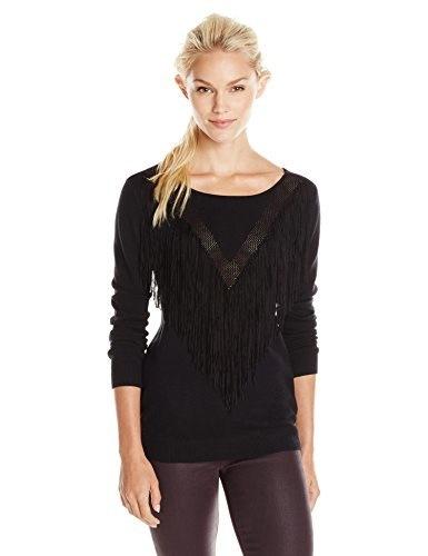 Ella moss Womens Ravi Pull Over Fringe Sweater, Black, Large