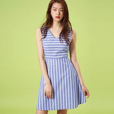 ナインNAINカミング・ストライプワンピースOP2901 面ワンピース/ 韓国ファッション