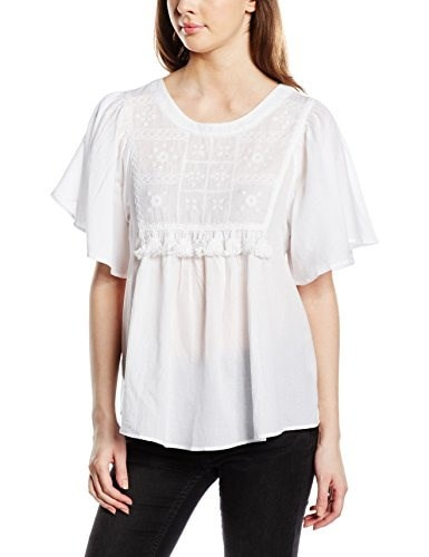 Vero Moda Womens Hushort Short Sleeve Top, Snow White, Medium