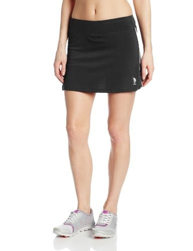 U.S. Polo Assn. Womens Sports Skort, Black/White, Medium