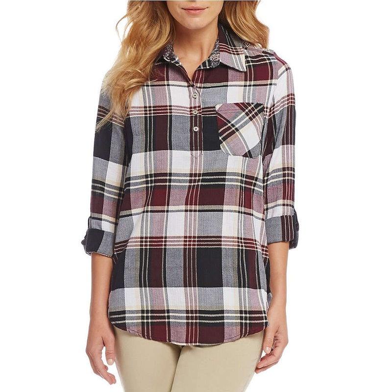 ウエストバウンド レディース トップス ブラウス・シャツ【Westbound Petites One Pocket Popover Shirt】Plaid/Wallpaper
