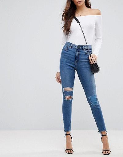 エイソス レディース デニムパンツ ボトムス ASOS DESIGN Ridley high waist skinny jeans in extreme mid wash with busted kn
