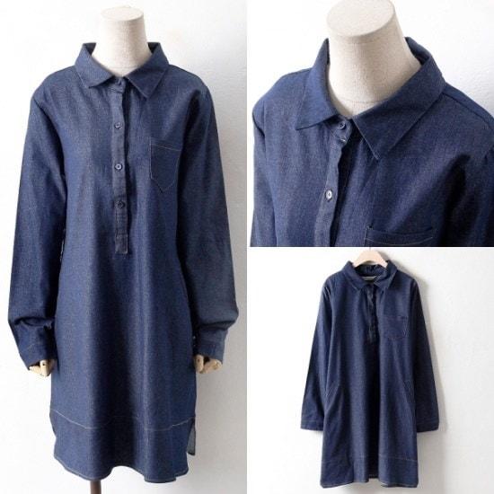 【ウィスィモール] BN1013カジュアルデニムワンピース(H801S)1col.66-110size シフォン/レースのワンピース/ 韓国ファッション