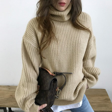 Knit argon turtleneck Korean fashion style