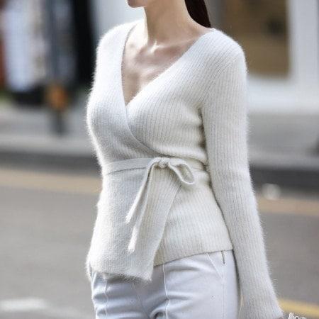 【ディントゥ] E1432アンゴラ段ボールラップニットトップkorea fashion style